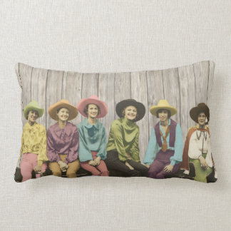 Row of Vintage Western Cowgirls pillow