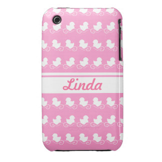 row of white ducks in pink iPhone 3G/3GS iPhone 3 Covers