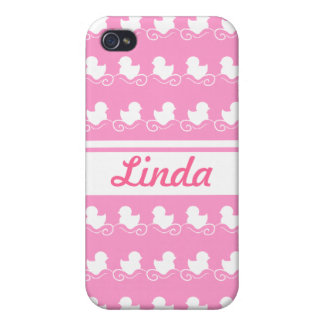 row of white ducks in pink iPhone 4 Case For iPhone 4