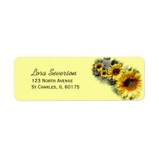 Row of Yellow Garden Sunflowers Return Address Label