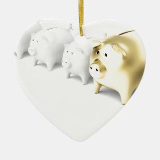 Row with piggy banks ceramic ornament