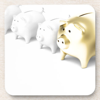 Row with piggy banks coaster