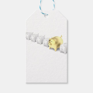 Row with piggy banks gift tags