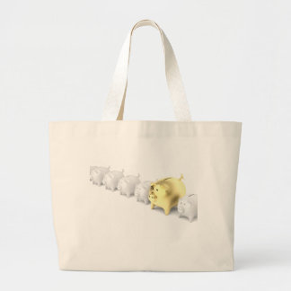 Row with piggy banks large tote bag