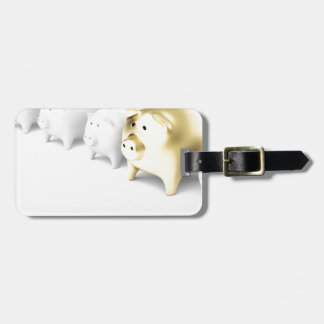 Row with piggy banks luggage tag