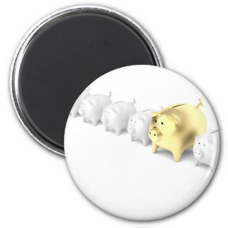 Row with piggy banks magnet