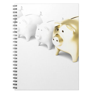 Row with piggy banks notebook