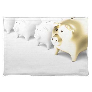 Row with piggy banks placemat