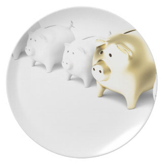 Row with piggy banks plate