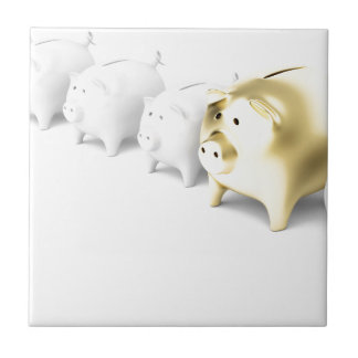 Row with piggy banks tile