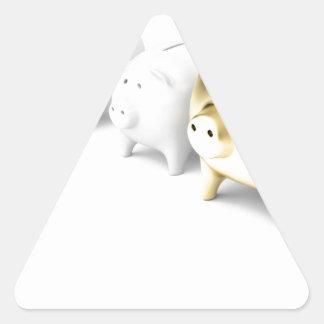 Row with piggy banks triangle sticker