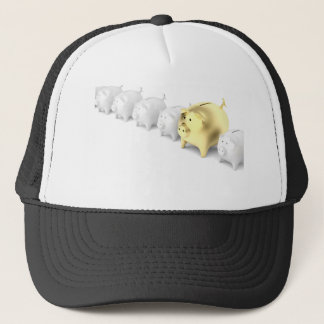 Row with piggy banks trucker hat
