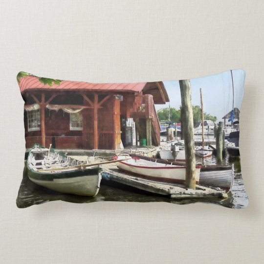 Rowboats by Founders Park Alexandria VA Lumbar Pillow