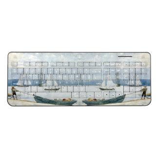Rowboats Dory Harbor Ocean Boats Wireless Keyboard