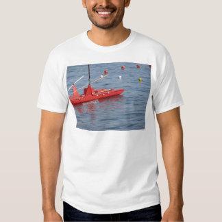 Rowed rescue catamaran at sea t-shirts