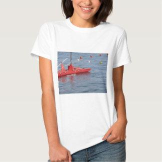 Rowed rescue catamaran at sea tee shirts