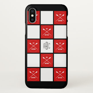 Rowers monogram red white squares oarsome iPhone x case