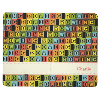 Rowing crew custom text colorful pattern journal