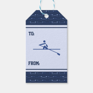 Rowing crossed oars blue pattern sports pack of gift tags