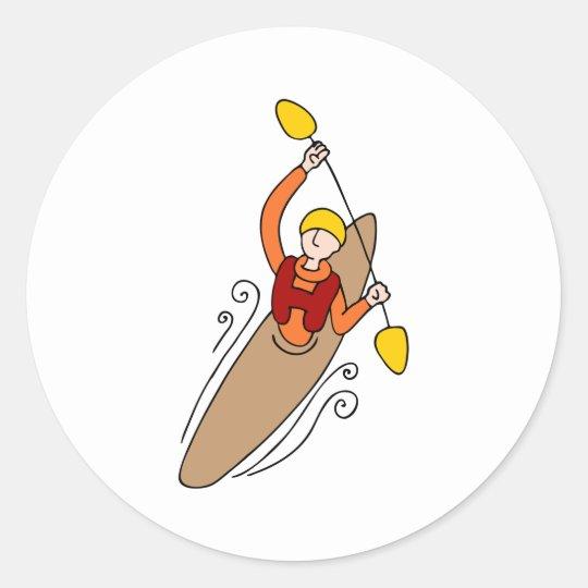 Rowing Kayak Man Classic Round Sticker