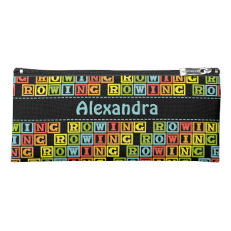 Rowing lettering pattern custom name bright pencil case