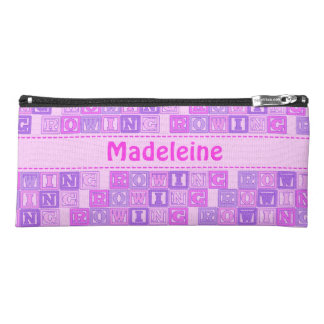 Rowing lettering pattern custom name pink pencil case