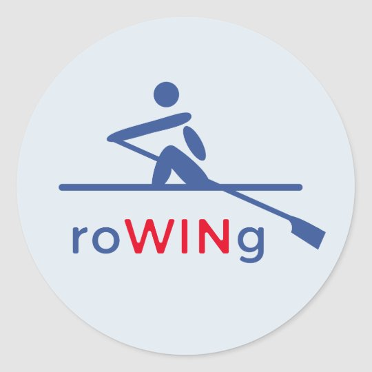 RoWINg motivational blue Classic Round Sticker