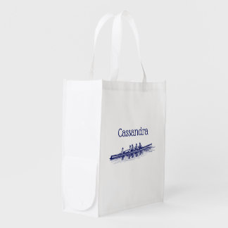 Rowing Rowers Crew Team Water Sports Reusable Grocery Bag