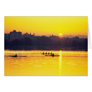 Rowing Training At Sunset Card