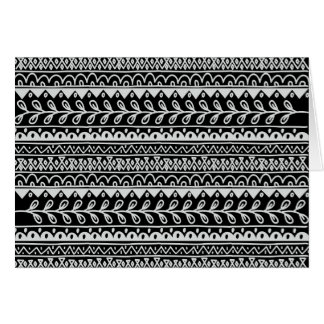 Rows of Black and White Doodle Patterns Card