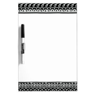 Rows of Black and White Doodle Patterns Dry Erase Board