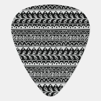 Rows of Black and White Doodle Patterns Guitar Pick