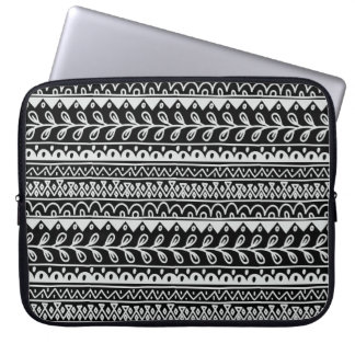 Rows of Black and White Doodle Patterns Laptop Sleeve
