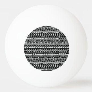 Rows of Black and White Doodle Patterns Ping Pong Ball