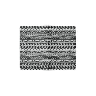 Rows of Black and White Doodle Patterns Pocket Moleskine Notebook