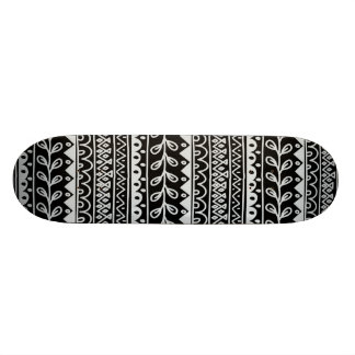 Rows of Black and White Doodle Patterns Skateboards