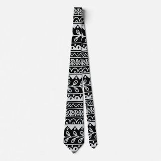 Rows of Black and White Doodle Patterns Tie