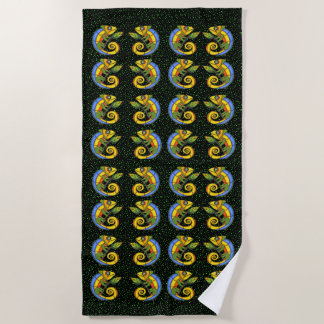 Rows of Bright Colorful Smiling Lizards Green Dots Beach Towel
