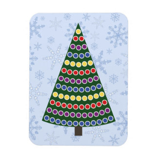 Rows of Christmas Lights Tree on Snowflake Blizzar Magnet