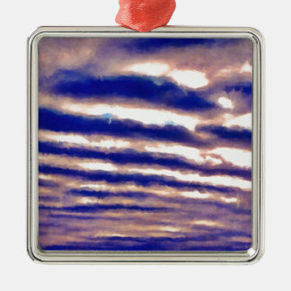 Rows of Clouds Silver-Colored Square Ornament