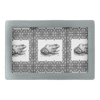 rows of frogs rectangular belt buckle