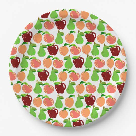 Rows of Fruits - Peaches, Apples, and Pears 9 Inch Paper Plate