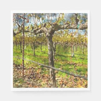 Rows of Grapevines in Napa Valley California Disposable Napkins