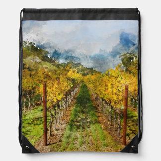 Rows of Grapevines in Napa Valley California Drawstring Bag