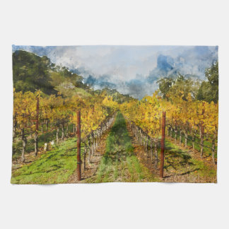 Rows of Grapevines in Napa Valley California Kitchen Towel