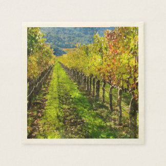 Rows of Grapevines in Napa Valley California Paper Napkins