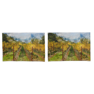 Rows of Grapevines in Napa Valley California Pillowcase