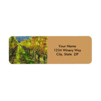Rows of Grapevines in Napa Valley California Return Address Label