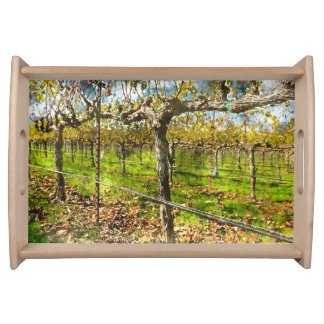 Rows of Grapevines in Napa Valley California Serving Tray