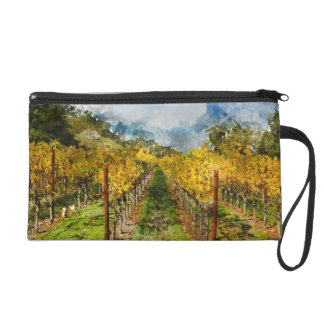 Rows of Grapevines in Napa Valley California Wristlet